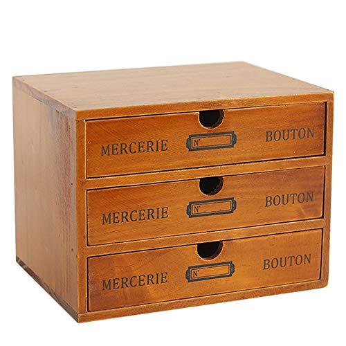 Caja De Almacenamiento De Escritorio con Cajones Cajonera Vintage De Madera Caja De Joyería Caja De Madera con Cajón Organizador De Madera Almacenamiento De Mesa 3 cajones