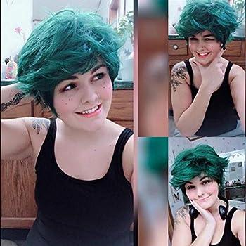 TOPHR Short Green Deku Wig Synthetic Heat Resistant Fiber Cosplay Wigs for My Hero Academia Dark Green