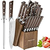 Knife Set, 15pcs Kitchen Knife Set with Wooden Block – German High Carbon Stainless Steel Professional Chef Knife Block Set, Manual Sharpening, Forged, Full-Tang