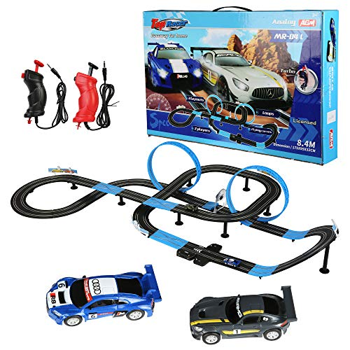Vilobos Electric RC Slot Car Race Track Set 1:64, Battery Powered High Speed 3D Racing Includes 2 Cars 2 RC Handles for Kids (27.5ft)