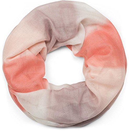 styleBREAKER Loop Schal mit Streifen Farbverlauf Muster, Schlauchschal, Tuch, Unisex 01018097, Farbe:Koralle-Weiß-Rose