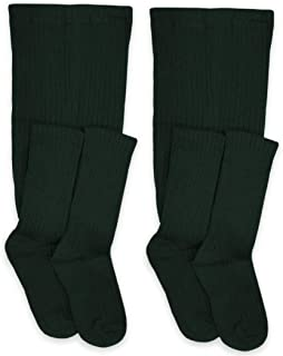 Jefferies Socks Girls School Uniform Cable and Rib Tight 2 Pack