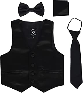 Boys 4 Piece Formal Satin Vest Set Zipper Tie Bowtie Hanky