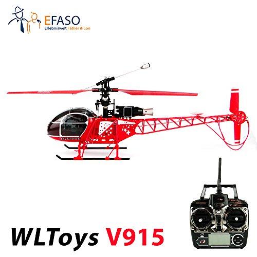 efaso WLToys V915 LAMA - 2,4 GHz 4-Kanal Helikopter mit LCD Fernsteuerung, Gyroskop, Zwei Geschwindigkeitsmodi und umfangreichen Trimmfunktionen - Komplett RTF!