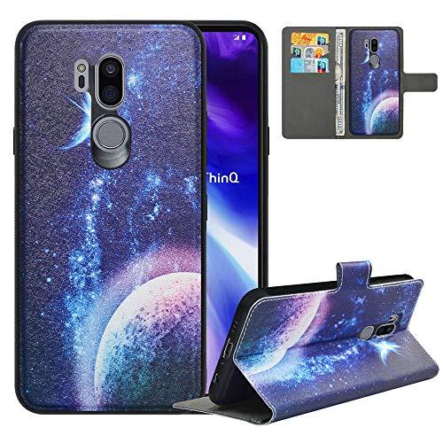 LFDZ Handyhülle für LG G7 ThinQ Hülle,Premium 2 in 1 Abnehmbare PU Ledertasche für G7 ThinQ Hülle,RFID-Blocker Flip Hülle Brieftasche Etui Schutzhülle für LG G7 Fit/LG G7 ONE/G7+ThinQ Hülle,Planet