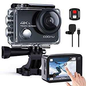 COOAU Native 4K 60fps 20MP Touch Screen WiFi Action Sport Camera EIS Stabilization Underwater Waterproof Cam with External Microphone Remote Control 2x1350Amh Batteries by COOAU