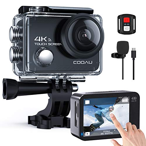 COOAU Native 4K 60fps 20MP Touch Screen WiFi Action Sport Camera EIS Stabilization Underwater Waterproof Cam with External Microphone Remote Control 2x1350Amh Batteries