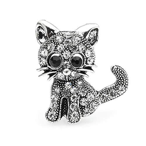 QYTSTORE Vintage Rhinestone Cat Broche, Tamaño: 3.3 * 2.4cm, Damas Pequeño Animal Partido Ocio Broche Pin Regalo Broche Elegante y romántico (Color : Silver)