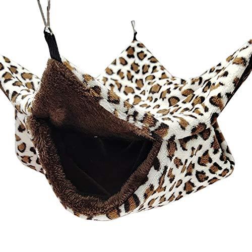 ChicSoleil Hamaca pequeña para mascotas, suave y cálida, de doble capa, manta para mascotas, para rata, chinchillas, juguetes, cobayas, jaula para animales pequeños, nido, color marrón, 34 x 34 cm