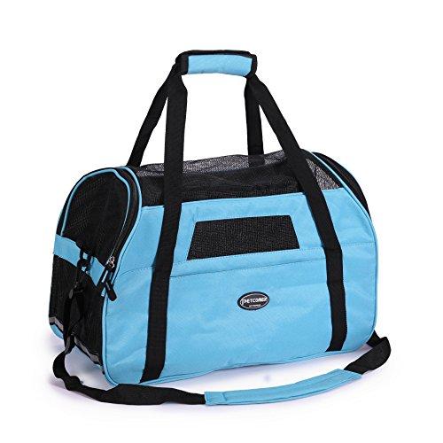 BabycarePro Cómodo Bolso de Hombro Portador de Viaje con Estera y Lados Suaves, Aprovado por la Aerolínea para Mascotas Perros y Gatos, Azul Claro