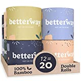 Betterway Bamboo Toilet Paper 3 PLY - Eco Friendly, Sustainable Toilet Tissue - 12 Double Rolls & 360 Sheets Per Roll - Septic Safe - Organic, Plastic Free, Compostable & Biodegradable - FSC Certified