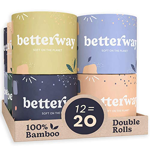 Betterway Bamboo Toilet Paper 3 PLY – Eco Friendly, Sustainable Toilet Tissue – 12 Double Rolls & 360 Sheets Per Roll – Septic Safe – Organic, Plastic Free, Compostable & Biodegradable