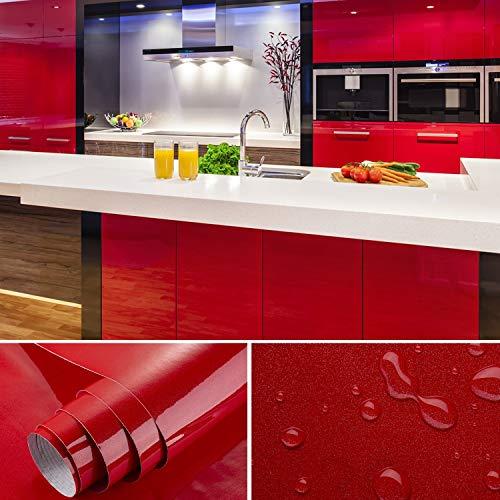 SOLDGOOD - Rollo de papel pintado autoadhesivo de PVC, 5,5 x 0,61 m, rojo, 2-Rolls 61cm*5.5m