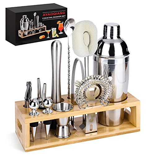 Cocktail Shaker Set Bartender Kit, 13-Piece Stainless Steel Bar Tools with Stylish Bamboo Stand and...