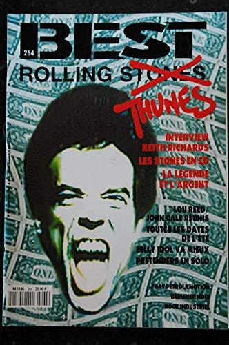 BEST 264 JUILLET 1990 ROLLING STONES THUNES Keith Richard Lou Reed John Cale Billy Idol PRETENDERS Berurier Noir