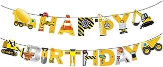 Engineer Bulldozer Happy Birthday Banner Excavator boy party decorations Concrete mixer truck birthday decoration yellow b...