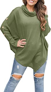 Fessceruna Women Batwing Sleeves Sweater Cowl Neck Irregular Hem Button Down Knitted Cover Up