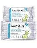 RAWGANIC® - BIO Hand Wipes – Saubere Hände geben Keimen keine Chance - Feuchte Baumwolltücher für unterwegs - Mit Aloe Vera und Gurke (2 Päckchen)