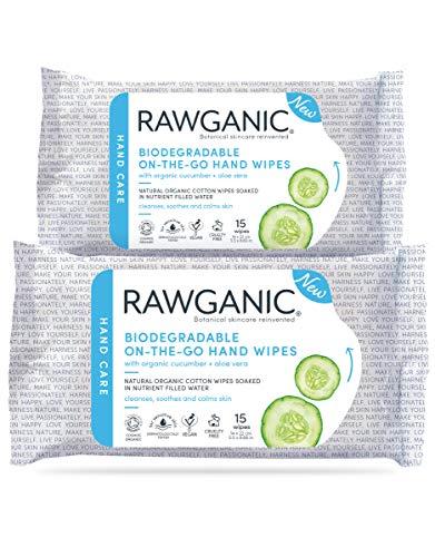 RAWGANIC Toallitas de mano para llevar, húmedas, sin alcohol, sin fragrancias, biodegradables, de algodón organico, con aloe vera y pepino (set de 2 unidades)