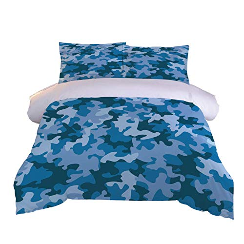 UDUVOG Duvet Cover Bedding Set - Ultra Soft Hypoallergenic Microfiber Duvet Set Double Size 3Pcs, Quilt Cover Set Blue Camouflage Pattern Printed Pattern 200X200Cm + 2 Matching Pillowcase