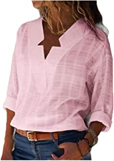 FieerWomen Baggy Long Sleeve Oversized Plaid V-Neck Shirt Tops