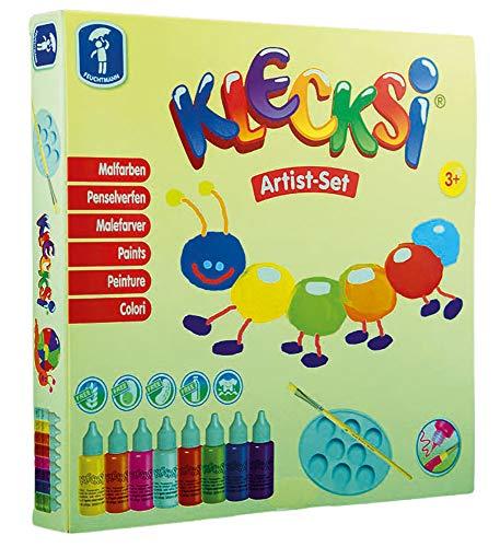 Feuchtmann Spielwaren 6330618 - KLECKSi 8 Flaschen hochwertige Malfarbe á 30 g inkl. Pinsel und Mischpalette