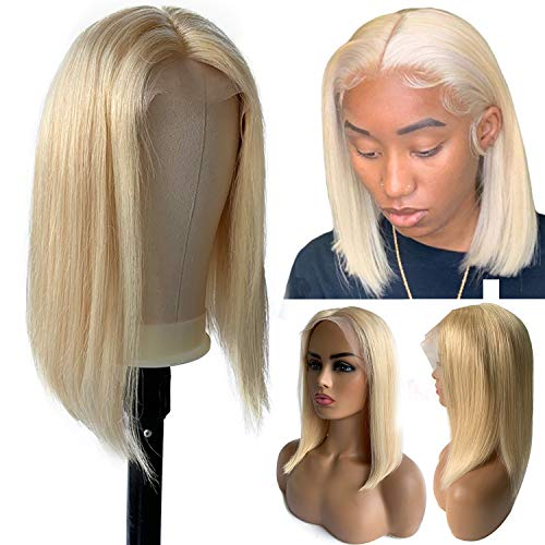 Short 613 Lace Front Wigs T Part Bob Human Hair for Women Glueless Pre Plucked 13x4x1 12 Inch Lace Front Bob Wig 180% Density Straight Blonde Real Hair Can be Restyled