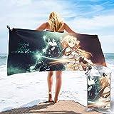 Sword Art Online Toallas de playa de microfibra adecuadas para nadar, gimnasio, ducha, mochila, viajes y exteriores, súper absorbente, ligero y de secado rápido. Viene con ganchos y bolsas. QA4