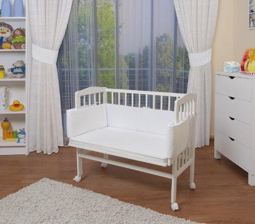 WALDIN Baby Beistellbett mit Matratze, höhen-verstellbar, Holz weiß lackiert,Große Liegefläche 90x55cm/weiß