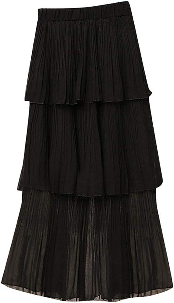 VEZAD Women Elastic Waist Chiffon Long Maxi Beach Dress