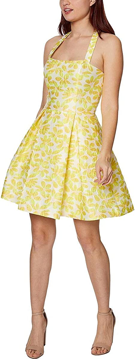 Betsey Johnson Women's Floral Jacquard Sleeveless Pleated Mini Dress