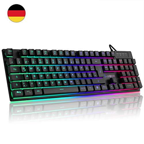Luibor Gaming Tastatur,LED Hintergrundbeleuchtung Tastatur USB Kabel Verdrahtet Ergonomische RGB Tastatur Keyboard PC/Laptop, Ideal für Gaming und Büro (Schwarz)
