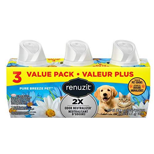 Renuzit Gel Air Freshener, Tough on Pet Odors, Pure Breeze, 7 Ounce, 3 Count