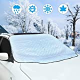Eclawen Car Windshield Snow Cover, Sun Shade Ice Cover with 4 Layers Protector, Waterproof Winter Cover for Snow, Frost, Ice, Sun Protection, Extra-Large Snow Cover Fits Most Cars and SUV