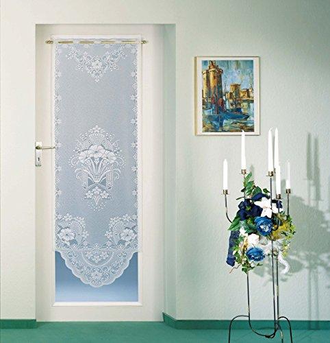 Gardine Türvorhang Fensterbild Scheibengardine hochwertiger Jaquard in weiß - Vorhang in geprüfter Qualität - Ökotex …auspacken, aufhängen, fertig! Typ100