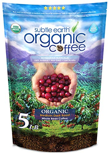 5LB Subtle Earth Organic Coffee - Medium-Dark Roast - Whole Bean - Organic Arabica Coffee - (5 lb) Bag
