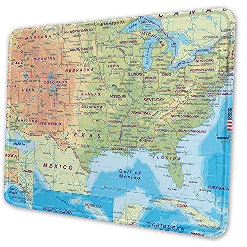 Gekleurde kaart van de Verenigde Staten muismat pad muismat computer toetsenbord gestikte randen