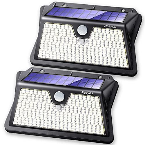 Reayos Luces solares con sensor de movimiento al aire libre, lentes ópticas mejoradas con energía solar para exteriores, 283 LED/3 modos, luces solares de seguridad IP65 impermeables