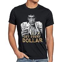 style3 Tony Get Every Dollar Camiseta para Hombre T-Shirt Pacino Pablo US Montana, Talla:L