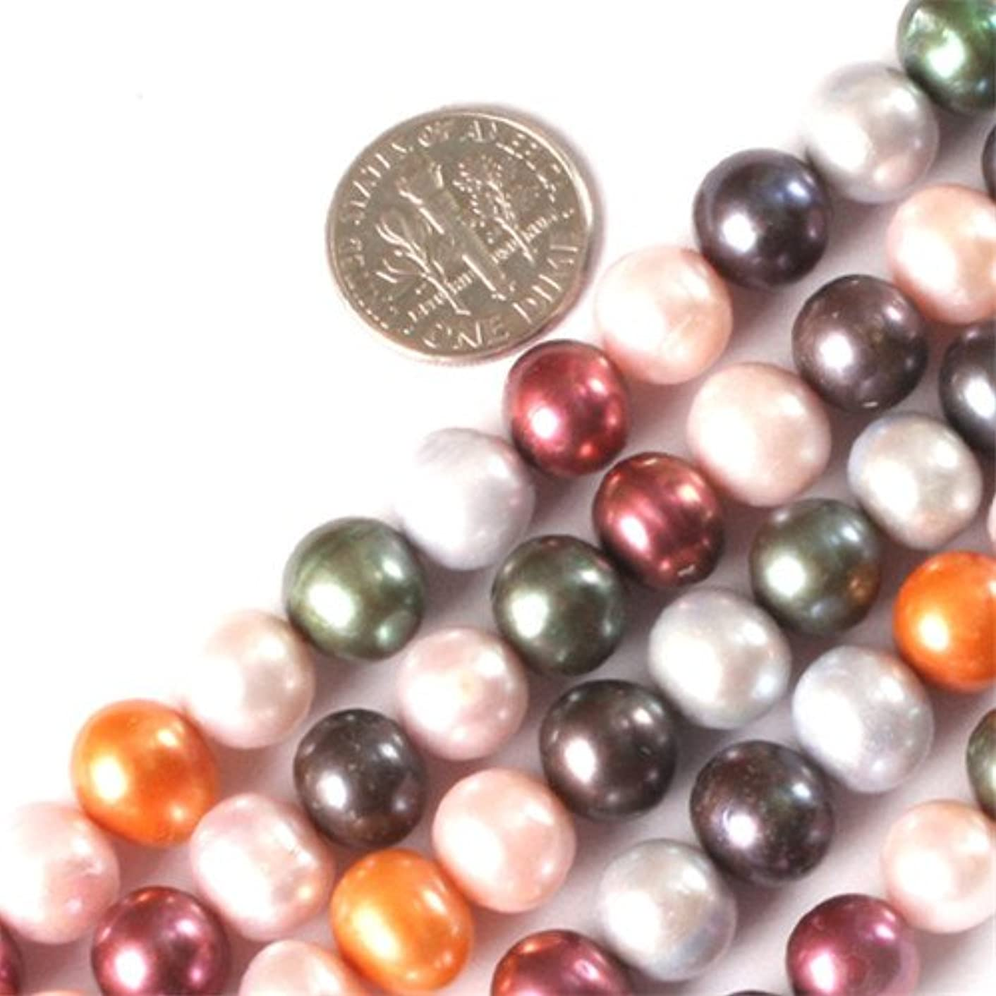 GEM-inside Pearl Gemstone Loose Beads 8-9mm Round Mixed Color Natural Cultured Dyed Energy Stone Power Beads For Jewelry Making 15