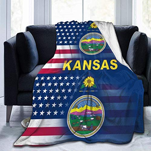 Manta Siesta Felpa Sofás Franela Queen Size 150X200CM Cover USA Kansas State Flag Cover Home Garden Velvet Micro Office Chair Envoltura asiento coche 80'x60' Buen sueño Warm Lightweight Fleece Blanket