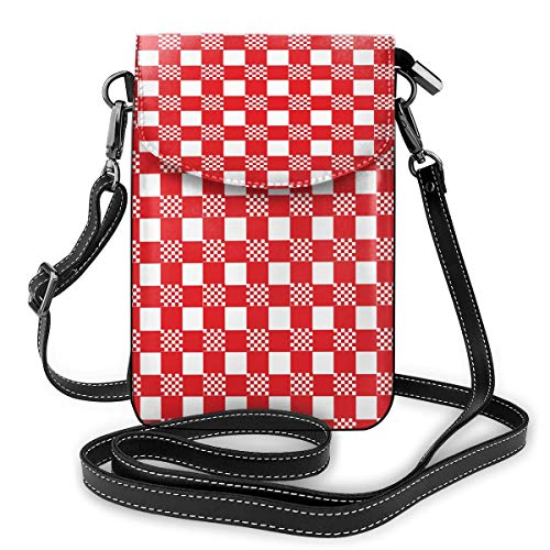Rode en witte tafelkleed kleine Crossbody Tassen Crossbody mobiele telefoon portemonnee - Vrouwen PU lederen handtas met verstelbare riem voor dagelijks leven