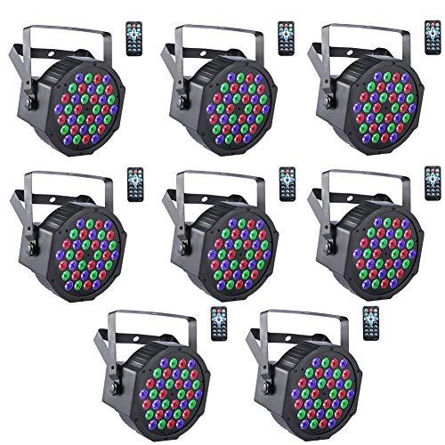 UKing LED Par Strahler DMX Licht 8pcs 36 LED Bühnenlicht Par Scheinwerfer 7 Partylicht Modi mit Fernbedienung RGB Lichteffekt für DJ Discolicht Bühnenbeleuchtung