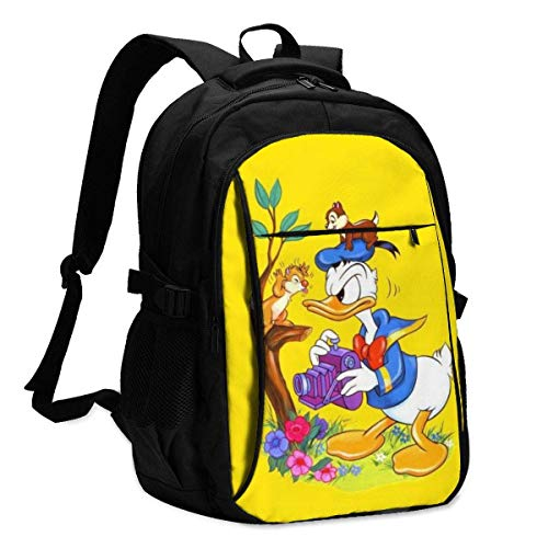 HOIH Donald Duck Backpack Business Travel Anti Theft Backpack with USB Charging Cable/Headset Interface Large Capacity Fits 13 17 Inch Laptop Notebook
