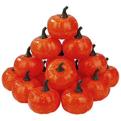 Mini Artificial Kürbisse Herbst Thanksgiving-Dekorationen Plastik Kleine Künstliche Kürbisernte für Hausgarten Herbsternte 2,36 Zoll 16 Stk