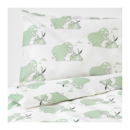 IKEA Bussig Crib Duvet Cover Pillowcase Green 903.654.44 Size 43x49/14x22