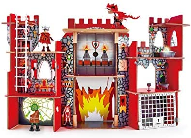 Hape Vikings Castle Dollhouse Play Set Wooden Folding Dragon Castle Dollhouse with Magic Accessories product image