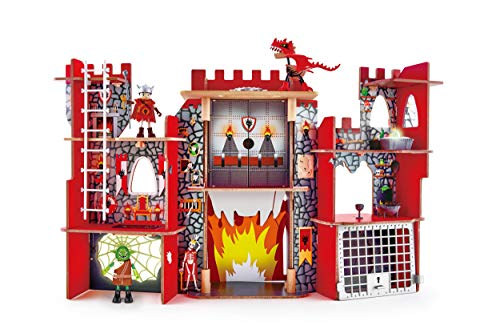Hape Vikings Castle Dollhouse Play Set| Wooden Folding Dragon Castle Dollhouse with Magic Accessories, Glow in The Dark Spider Web, Dragon Egg and Action Figures (E3025)