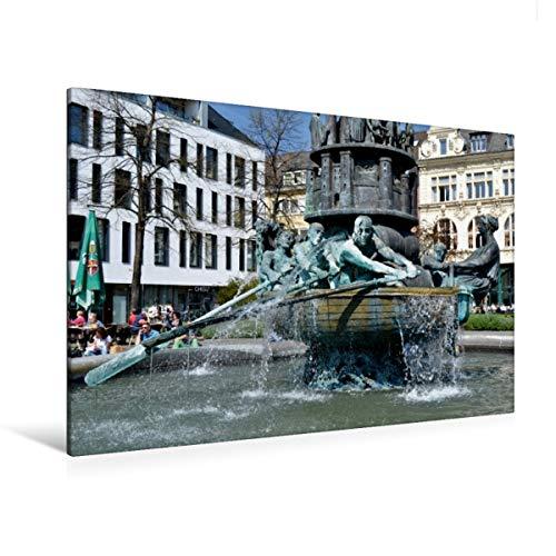 Calvendo Premium Textil-Leinwand 120 cm x 80 cm quer, Koblenz | Wandbild, Bild auf Keilrahmen, Fertigbild auf echter Leinwand, Leinwanddruck: Der Brunnen auf erzählt die Stadt-Geschichte Orte Orte