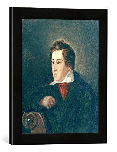 Gerahmtes Bild von Moritz Daniel Oppenheim Heinrich Heine/M.D.Oppenheim, Kunstdruck im hochwertigen handgefertigten Bilder-Rahmen, 30x40 cm, Schwarz matt